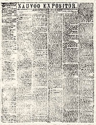 Joseph Smith and the criminal justice system - Page from the only issue of the Nauvoo Expositor