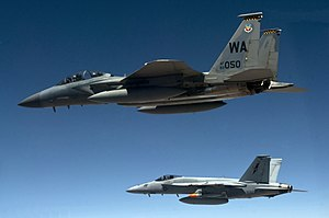 98th Operations Group - F-15D and F/A-18E over the Nevada Test Range