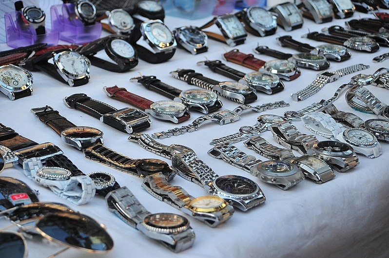 Fake watches on the market in Sa Coma, Mallorca.jpg