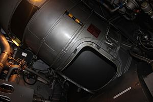 S-duct - Falcon 50 S-duct inside the aircraft's rear fuselage, with an access hatch removed