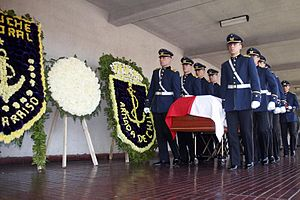 Military funeral - Chilean Army cadets carrying the coffin of general Augusto Pinochet.