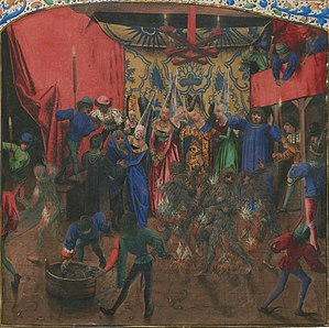 Bal des Ardents - Bal des Ardents by the Master of Anthony of Burgundy (c. 1470s), showing a dancer in the wine vat in the foreground, Charles huddling under the Duchess of Berry's skirt at middle left, and burning dancers in the center