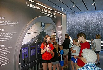 Flight 93 National Memorial - A group examines an audiovisual display at the Flight 93 National Memorial visitor center.