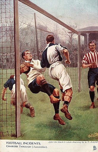 Goalkeeper (association football) - A goalkeeper being charged by a rival player (1905)