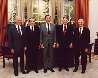 Presidents Gerald Ford, Richard Nixon, George H. W. Bush, Ronald Reagan and Jimmy Carter at the dedication of the Reagan Presidential Library FordNixonBushReaganCarter.jpg
