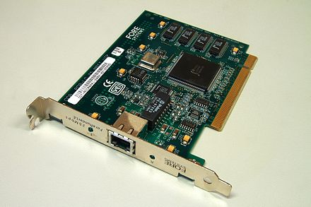 An ATM network interface in the form of an accessory card. A lot of network interfaces are built-in. ForeRunnerLE 25 ATM Network Interface (1).jpg
