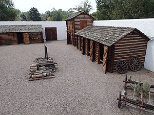 Fort Hall - Fort Hall 1960s replica, the courtyard, at Pocatello, Idaho