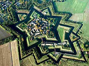Fortification - Fort Bourtange star fort, restored to 1750 situation, Groningen (province), Netherlands.