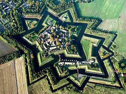 Fort Bourtange, a bastion fort, was built with angles and sloped walls specifically to defend against cannon. Fortbourtange.jpg