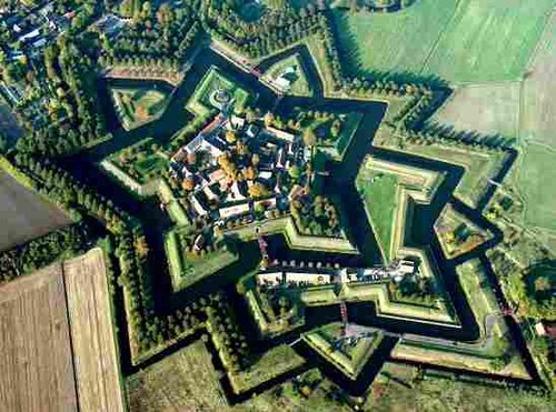 Vauban's design principles were used for decades after his death; Bourtange in the Netherlands, restored to its 1742 condition. Fortbourtange.jpg