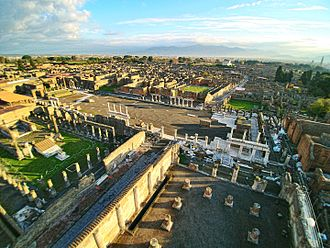 Forum (Roman) - Forum of Pompeii, seen from above the Basilica with a drone