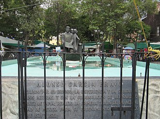 Historic center of Mexico City - Fountain with busts honoring Alonso Garcia Bravo, who laid out post-Conquest Mexico City conserving much of the original Aztec infrastructure. Located off Merced Street between Jesus María and Talavera, east of the Zocalo.