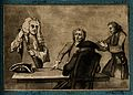 Four men gathered around a table, an old man in a cloak and Wellcome V0006694.jpg