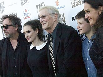 Frankenweenie (2012 film) - Tim Burton, Winona Ryder, Martin Landau, Charlie Tahan and Allison Abbate at the film's premiere at the Fantastic Fest in Austin, Texas.