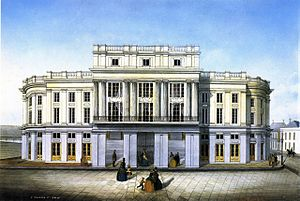 French Opera House - The Opera House shortly after it opened in 1859, as painted by Marie Adrian Persac.