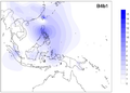 Frequency distribution maps for mtDNA haplogroup B4b1.png