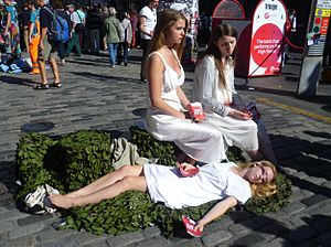 Edinburgh Festival - Cast members publicising a Fringe production of Shakespeare's Macbeth
