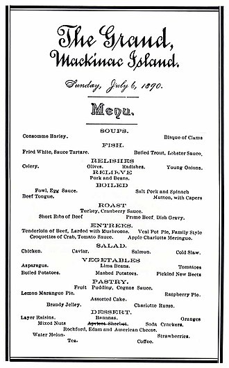 Grand Hotel (Mackinac Island) - A Hotel dinner menu from July 6, 1890