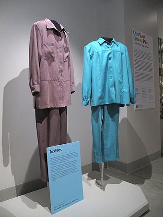 Del Martin and Phyllis Lyon - Pantsuits worn by Del Martin and Phyllis Lyon to their weddings in San Francisco in 2004 and 2008; on display at the GLBT History Museum, 4127 18th St., San Francisco. Photo: GLBT Historical Society.