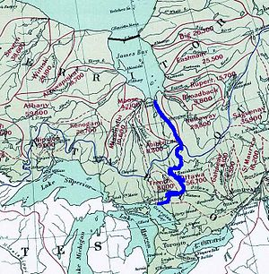 James Bay - Possible scenario of the GRAND Canal scheme, showing the initial water capture and diversion into Lake Huron. Water would be pumped south from the newly formed James Lake into the Harricana River, crossing into the Great Lakes watershed near Amos, into Lake Timiskaming and the Ottawa River, crossing near Mattawa into Lake Nipissing and the French River to Lake Huron.