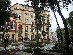 Deutsche Schule Istanbul - Backyard of Galata Mevlevihanesi with the building of Deutsche Schule Istanbul at the back.