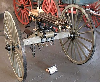 Gatling gun - 1876 Gatling gun kept at Fort Laramie National Historic Site