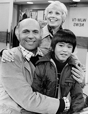 Gavin MacLeod - MacLeod with Joyce Bulifant and Michael Higa on The Mary Tyler Moore Show in May 1975