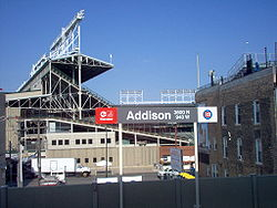 Addison Station at Wrigley Field is served by Red Line trains. This view is now blocked by buildings constructed in 2007