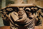 Moses on 1518 baptismal font by Christoph von Urach