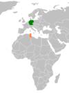 Lage von Deutschland und Tunesien