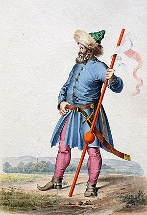 Starší muž splnovousem oblečený vmodrém kabátě skalpakou na hlavě, červenorůžovými kalhoty a hnědé boty súzkou špičkou. Vruce drží prapor a dívá se směrem doleva.