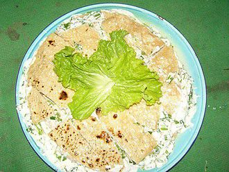 Chitrali cuisine - Ghalmandi with cottage cheese and herbs