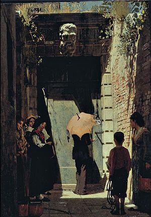 Giacomo Favretto - Image: Giacomo Favretto, Ingresso di una casa patrizia a Venezia, 1874, olio su tavola