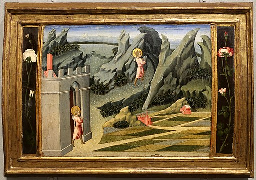 Giovanni di paolo, scene della vita del battista, 1454, 02 partenza per il deserto 1