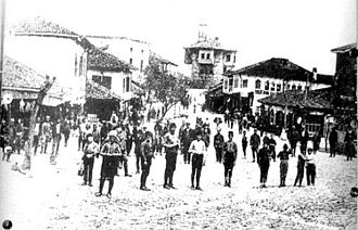Gjilan - The city center of Gjilan, to the clock tower. The picture also shows the Little Mosque in the center of the city