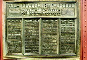 Irving Morrow - Plaque of the major contributors to the Golden Gate Bridge