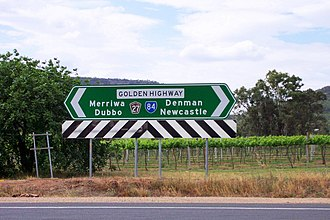 Golden Highway - Direction sign at end of Bylong Valley Way
