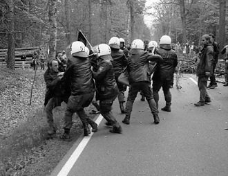 Anti-nuclear movement in Germany - Riots at anti-nuclear demonstrations near Gorleben, Lower Saxony, Germany, 8 May 1996.