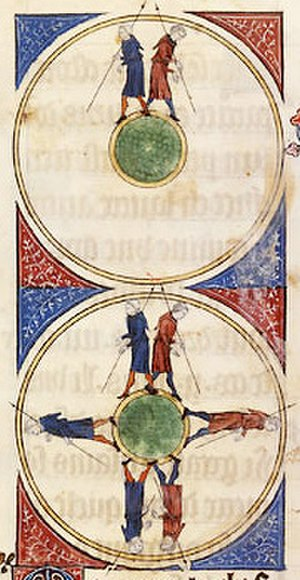 Dark Ages (historiography) - Medieval artistic illustration of the spherical Earth in a 14th-century copy of L'Image du monde (c. 1246)