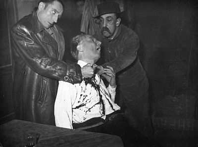 A scene from the Grand Guignol, a format some critics have cited as an influence on the slasher film Grand-Guignol-Scene-1937 (2).jpg
