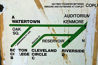 "Green Line ""A"" Branch - 1967 map of branches of the newly named Green Line, showing the ""A"" Branch"