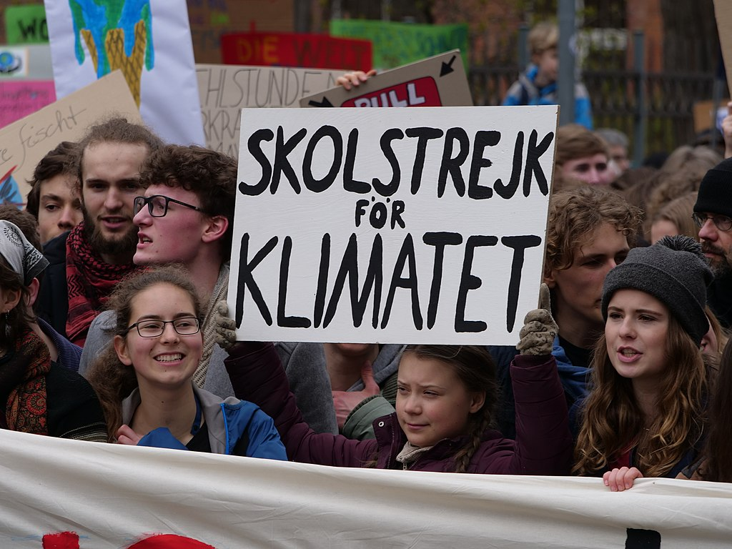 Greta Thunberg at the front banner of the FridaysForFuture demonstration Berlin 29-03-2019 10.jpg