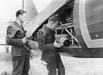Groundcrew installing a Type F.24 camera into a Westland Lysander Mk II of No. 225 Squadron at RAF Tilshead, Wiltshire, September 1940. CH1313.jpg