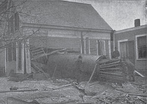Grover Shoe Factory disaster - View of boiler lodged in home of Miss Mary Pratt
