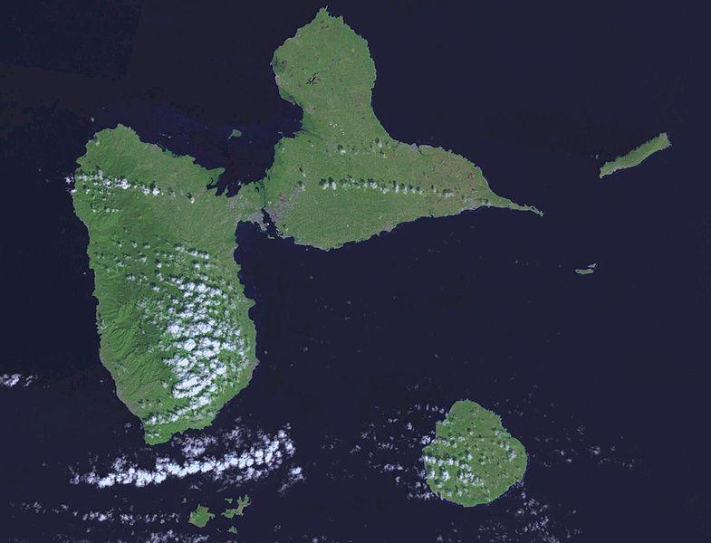 Satellitenaufnahme Guadeloupe, NASA