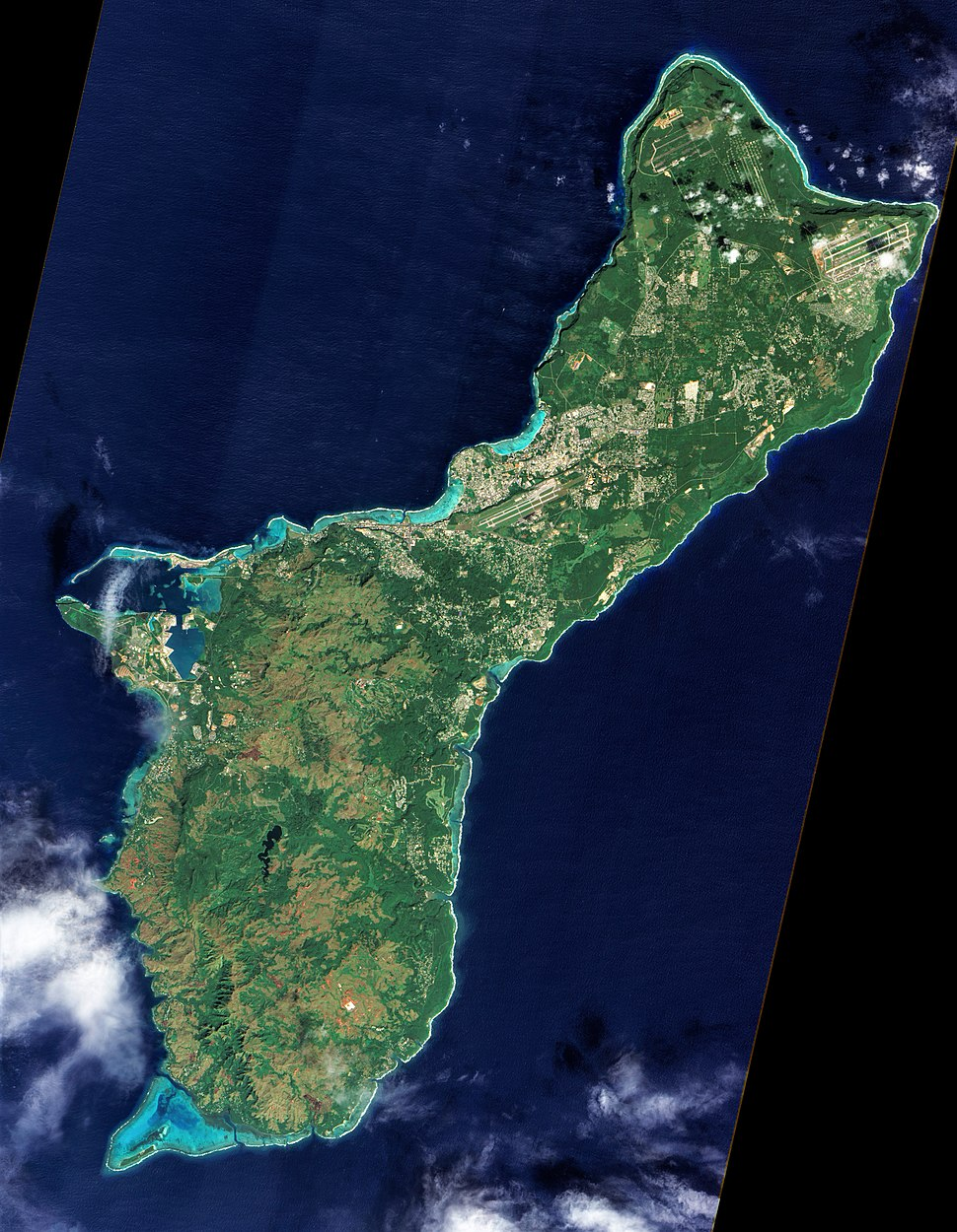 An unobstructed view of the island of Guam from NASA's Earth Observing-1 satellite