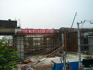 Guangzhou–Zhuhai intercity railway - Guangzhu Railway in construction, June 2010