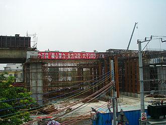 Guangzhou–Zhuhai intercity railway - Guangzhu Railway in construction, June 2010