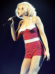 Color picture of singer Gwen Stefani performing