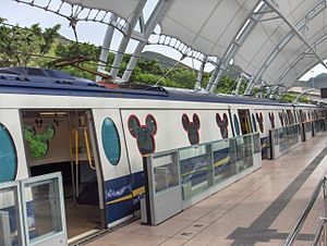 HK MTR DisneyResortLine Sunny Bay platform trains.JPG